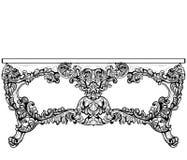 Имперская барочная таблица консоли Французской орнаменты высекаенные роскошью украсили мебель таблицы Стиль вектора викторианский Стоковое Фото