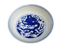 Имперская голубая и белая плита фарфора стоковое изображение rf