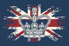 Имперская крона положения на предпосылке флага Великобритании Стоковые Фотографии RF