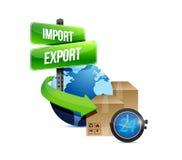 Импортируйте и экспортируйте глобус и коробку и вахту бесплатная иллюстрация