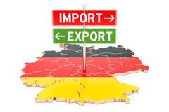 Импортируйте и экспорт в концепции Германии, переводе 3D иллюстрация штока