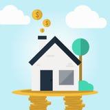 Имущества исходящей наличности недвижимости в плоской идее проекта Стоковая Фотография RF