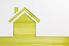 имущество принципиальной схемы реальное Бумажная диаграмма дома и пустая визитная карточка Стоковая Фотография