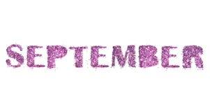Имя -го сентябрь, месяца осени фиолетового яркого блеска изолированного на белой предпосылке Стоковые Изображения RF