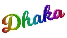 Имя каллиграфическое 3D города Дакки представило иллюстрацию текста покрашенный с градиентом радуги RGB Стоковые Изображения