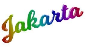 Имя каллиграфическое 3D города Джакарты представило иллюстрацию текста покрашенный с градиентом радуги RGB Стоковая Фотография RF