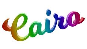Имя каллиграфическое 3D города Каира представило иллюстрацию текста покрашенный с градиентом радуги RGB Стоковые Фотографии RF