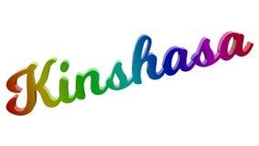Имя каллиграфическое 3D города Киншасы представило иллюстрацию текста покрашенный с градиентом радуги RGB Стоковая Фотография RF