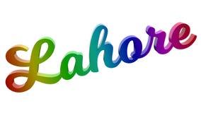 Имя каллиграфическое 3D города Лахора представило иллюстрацию текста покрашенный с градиентом радуги RGB Стоковые Фотографии RF