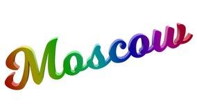 Имя каллиграфическое 3D города Москвы представило иллюстрацию текста покрашенный с градиентом радуги RGB Стоковое Изображение RF