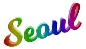 Имя каллиграфическое 3D города Сеула представило иллюстрацию текста покрашенный с градиентом радуги RGB Стоковое фото RF