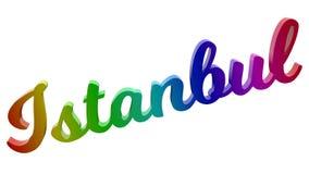 Имя каллиграфическое 3D города Стамбула представило иллюстрацию текста покрашенный с градиентом радуги RGB Стоковые Изображения