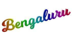 Имя каллиграфическое 3D города Bengaluru представило иллюстрацию текста покрашенный с градиентом радуги RGB Стоковое Фото