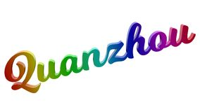 Имя каллиграфическое 3D города Quanzhou представило иллюстрацию текста покрашенный с градиентом радуги RGB Стоковые Изображения