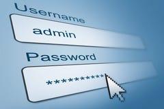 Имя пользователя с именем пользователя и паролем Стоковое фото RF