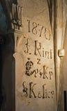 Имя сделанное с косточками в Ossuary Sedlec Hora Kutna Стоковое Изображение RF