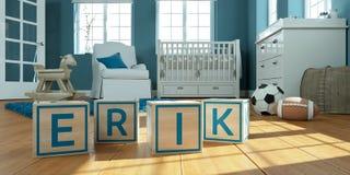 Имя erik написанный с деревянными кубами игрушки в комнате ` s детей стоковые фото
