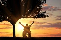 Инвалидное силуэта счастливое Стоковые Изображения RF