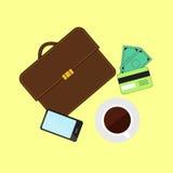 Инвестировать и личные финансы, кредит и планировать Управление исходящей наличности и финансовое планирование Электронная коммер иллюстрация вектора