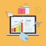 Инвестировать и личные финансы, кредит и планировать Управление исходящей наличности и финансовое планирование Электронная коммер иллюстрация штока