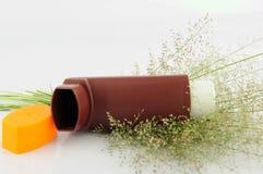 Ингалятор и трава астмы Брайна цветут на белой предпосылке Стоковое фото RF