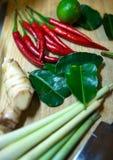 Ингридиенты для варить тайский суп овощи томата таблицы лука зеленых цветов морковей свежие намочили деревянное Стоковое Изображение