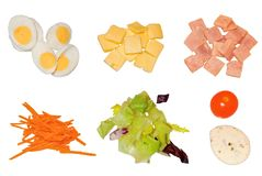 Ингридиенты для салата изолированного на белой предпосылке стоковое фото rf