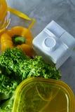 Ингридиенты для школьного обеда и пластмасового контейнера на таблице, конца-вверх, селективного фокуса Стоковые Изображения RF