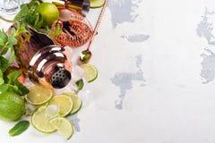 Ингридиенты коктеиля Mojito на белой каменной таблице Стоковое Изображение RF