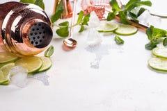 Ингридиенты коктеиля Mojito на белой каменной таблице Стоковое Изображение