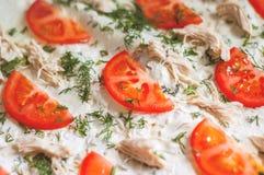Ингридиенты пиццы крупный план Томаты, цыпленок, сыр, укроп Стоковые Фотографии RF