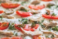 Ингридиенты пиццы крупный план Томаты, цыпленок, сыр, укроп Стоковые Фото