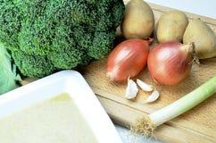 Ингридиенты супа брокколи Стоковое Изображение RF