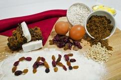Ингридиенты торта плодоовощ Стоковые Фото