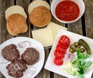 Ингридиенты гамбургера Стоковые Фото