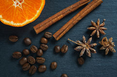 Ингридиенты: звезда анисовки, ручки циннамона, кофейные зерна и tangerine Взгляд сверху Стоковые Изображения RF