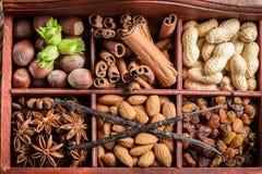 Ингридиенты и гайки для шоколада Стоковая Фотография RF