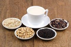 Ингридиенты пить сои, семян сезама, сои и риса здоровые. Стоковые Фото
