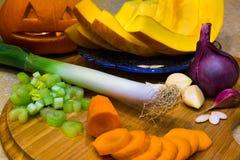 Ингридиенты супа тыквы Стоковое фото RF