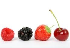 Ингридиенты фруктового салата лета, клубника, ежевика, вишня стоковое изображение rf