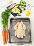 Ингридиенты для еды жареного цыпленка Стоковые Изображения