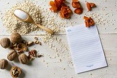 Ингридиенты для диетических печений овсяной каши рецепта Стоковое Изображение RF