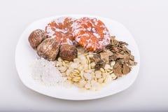 Ингридиенты для китайского супа стерженя абрикоса для сброса кашля Стоковая Фотография