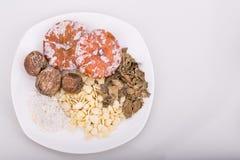 Ингридиенты для китайского супа стерженя абрикоса для сброса кашля Стоковые Фотографии RF
