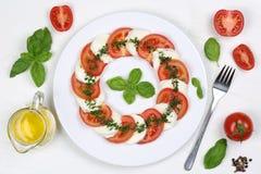 Ингридиенты для салата Caprese с томатами и моццареллой от Стоковые Изображения RF