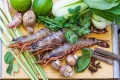Ингридиенты для тайского супа батата Tom Стоковое Изображение RF