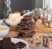 Ингридиенты для торта какао Стоковое Изображение