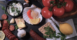 Ингридиенты для scallops короля с chorizo Стоковые Фото