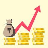 индеец рупии диаграммы роста финансовое перескакивание вверх Дизайн вектора плоский бесплатная иллюстрация