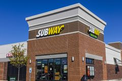 Индианаполис - около сентябрь 2017: Положение сандвича метро Метро цепь VII сандвича подводной лодки ` s мира самая большая Стоковые Фото